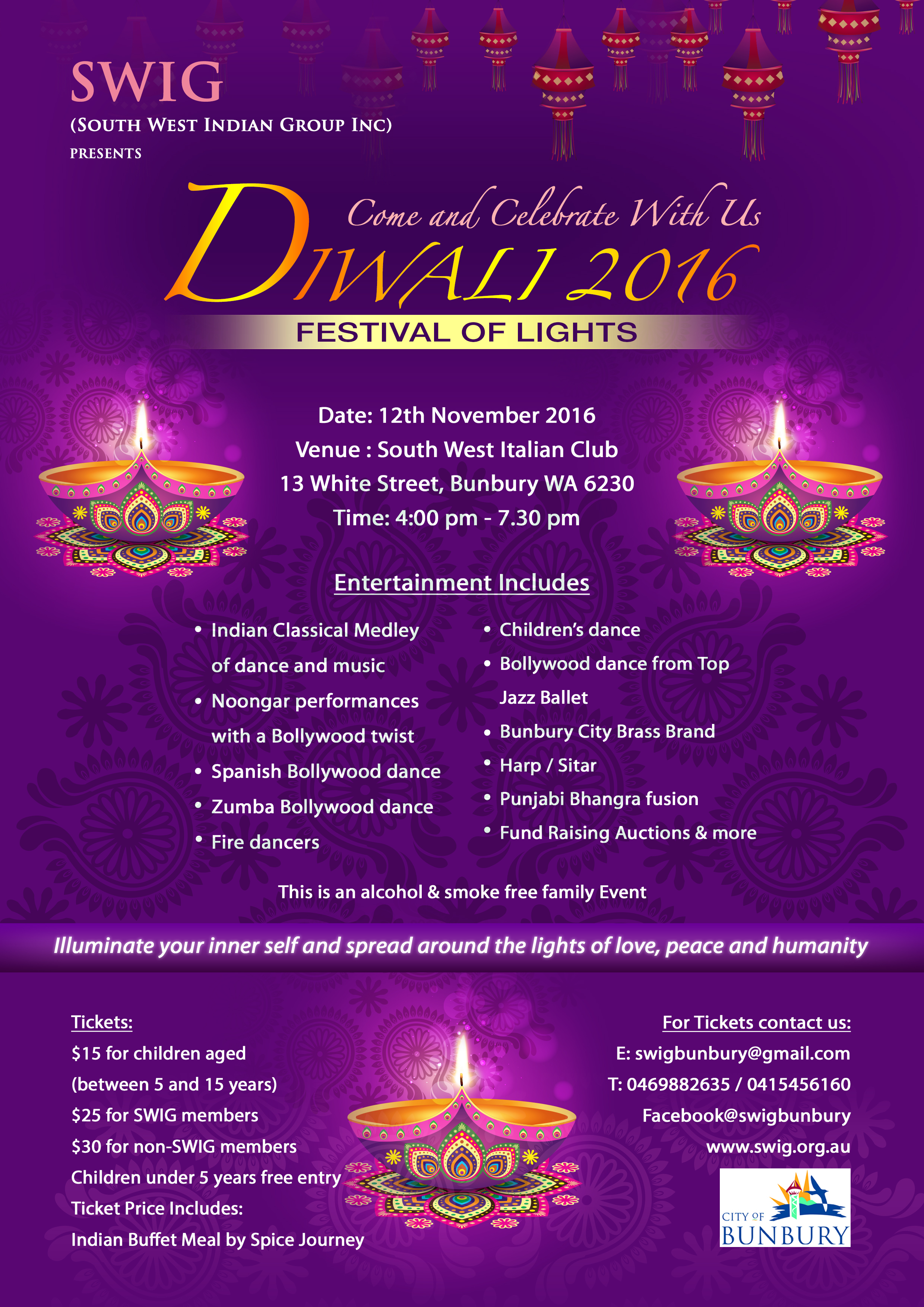 Tickets are also available at Central News Bunbury, Spicy Superstore and Spice Journey (food van)